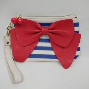 Betsey Johnson Striped Wristlet with Bow